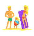 happy parents and their son resting on the beach vector image vector image