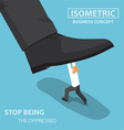 Isometric businessman fight against giant foot vector image