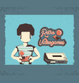 man playing video game retro vector image vector image