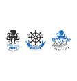 marine logo design templates set nautical land vector image