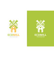 mill and leaf logo combination farm and vector image vector image