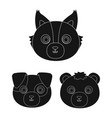 Muzzles of animals black icons in set collection