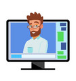 Online video conference man and chat vector image