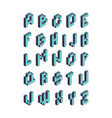 pixel font isometric video game alphabet retro vector image