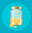 realistic 3d detailed money in jar vector image vector image
