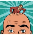Retro businessman hatches from the head men vector image vector image