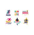 run sport club logo templates collection vector image