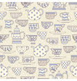 Seamless pattern with teacups and teapots vector image