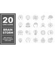 set brainstorm icons such as artificial light vector image