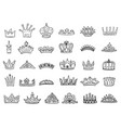 set royal jewelry crowns - black outline vector image vector image