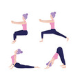 set woman doing exercise posture vector image