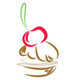 simple cartoon of cherry cake on white background vector image