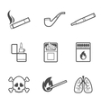 Smoking line style icons set 9 elements vector image vector image