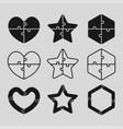 the black puzzle shape - heart star hexagon vector image