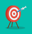 vaccine and syringe injection to target dartboard vector image vector image