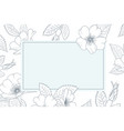 vintage card wild rose rose canina blue outline vector image