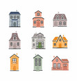 winter houses collection cottages set christmas vector image vector image