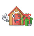 with gift dog house isolated on mascot cartoon vector image vector image