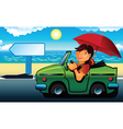 young man going to the beach by cabriolet vector image vector image