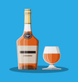 cognac bottle and glass cognac alcohol drink vector image