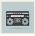 Classic 80s boombox on Retro Background Icon vector image