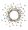 a lot of people stand in a circle vector image