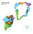 Abstract color map of Greenland vector image vector image