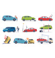 accident on road car damaged vehicle insurance vector image vector image