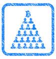bitcoin ponzi pyramid framed grunge icon vector image