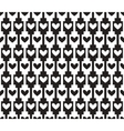 black seamless background pattern with hearts vector image vector image