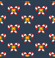 candy cane decorated with bow seamless pattern vector image vector image