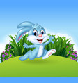 Cartoon bunny running in the jungle vector image vector image