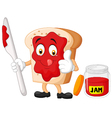 Cartoon slice of bread with jam giving thumbs up vector image vector image