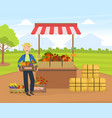 cheerful male farmer selling fresh organic vector image vector image