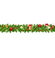 christmas border with gift box vector image vector image