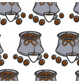 coffee beans in sack and cup brazilian drink vector image vector image