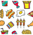 collection stock of food various doodles vector image vector image