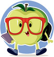 cute apple going back to school mascot vector image vector image