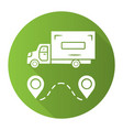 delivery truck green flat design long shadow vector image vector image