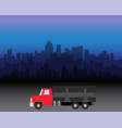 delivery truck on city vector image vector image