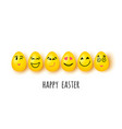 easter eggs with different facial expressions on vector image vector image