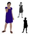 flat colored of a woman talking on a mobile phone vector image
