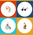 flat icon cripple set of spectacles audiology vector image vector image
