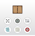 flat icon play set of backgammon gomoku vector image vector image