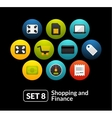Flat icons set 8 - shopping and finance collection vector image vector image