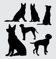 german shepherd and dalmatian dog silhouette vector image vector image