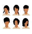 girls and mans hairstyles and haircut with face vector image vector image