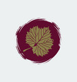 gold grape leaf on round burgundy background vector image vector image