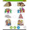 greater less or equal cartoon puzzle game vector image vector image