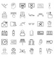 hacker icons set outline style vector image